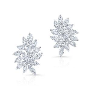 18K White Gold Floral Leaf Cluster Diamond Earrings