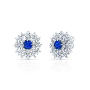 18K White Gold Floral Cluster Sapphire & Diamond Earrings