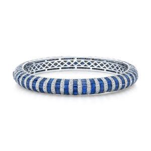 18K White Gold Sapphire & Diamond Bangle Bracelet