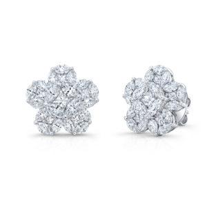 18K White Gold Floral Cluster Petal Diamond Earrings