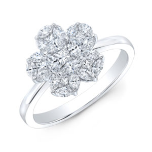 18K White Gold Floral Flower Cluster Diamond Ring