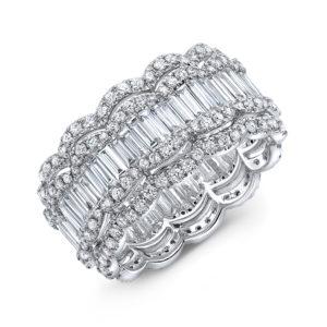 18K White Gold Eternity Emerald Cut Diamond Ring