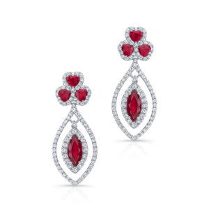 18K White Gold Ruby & Diamond Tear Drop Earrings