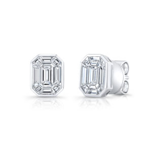18K White Gold Emerald Cut Diamond Earrings