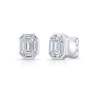 18K White Gold Emerald Cut Diamond Earrings