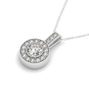 14Kw Diamond Halo Pendant 0.87  CT TW
