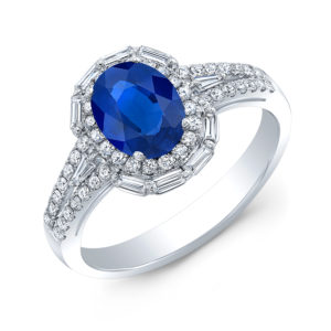 18K White Gold Oval Sapphire & Diamond Halo Ring