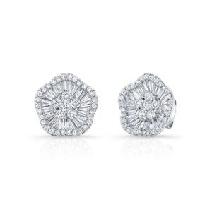 18K White Gold Emerald Cut Diamond Cluster Earrings
