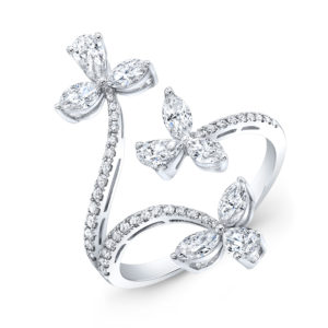18K White Gold Fancy Tulip Floral Diamond Ring