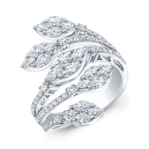 18K White Gold Fancy Floral Marquise Diamond Ring