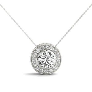 14Kw Diamond Halo Pendant 1.00 CT TW