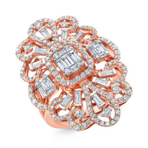 18K Rose Gold Fancy Emerald Cut Diamond Ring