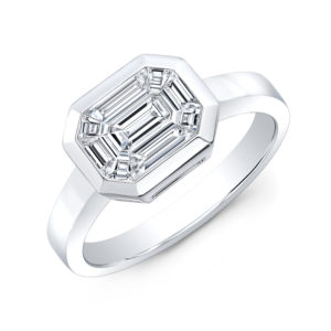 18K White Gold Emerald Cut Bezel Set Diamond Ring