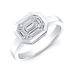18K White Gold Emerald Cut Bezel Set Diamond Ring