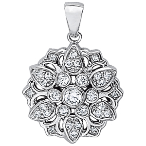 14Kw Round Flower Style Diamond Pendant 0.38 CT TW