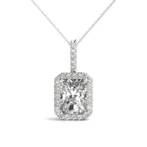 14Kw Diamond Rectangular Halo Pendant 1.20 CT TW