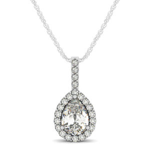 14Kw Pair Shaped Halo Diamond Pendant 1.20 CT TW