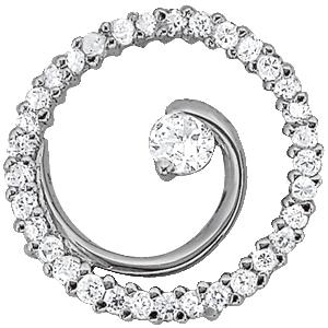 14Kw Round Diamond Pendant W/ Center Stone 0.38 CT TW