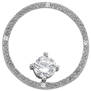 14Kw Round Diamond Pendant W/ Center Stone 0.50 CT TW