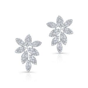 18K White Gold Fancy Floral Diamond Earrings