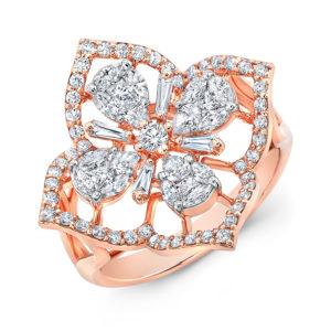 18K Rose Gold Fancy Floral Pear Shape Diamond Ring