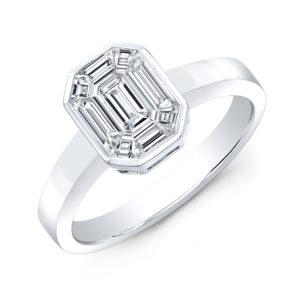 18K White Gold Bezel Set Emerald Cut Diamond Ring