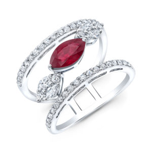 18K White Gold Wide Marquise Ruby & Diamond Ring