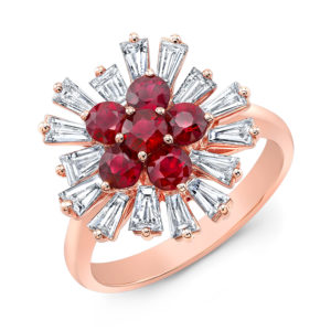 18K Rose Gold Fancy Ruby & Baguette Diamond Ring