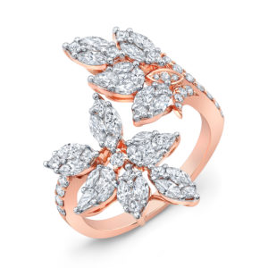 18K Rose Gold Fancy Floral Marquise Shape Diamond Ring