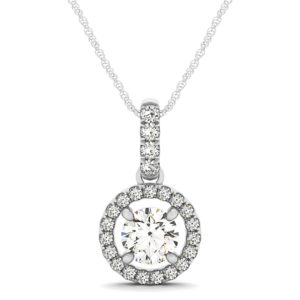 14Kw Diamond Halo Pendant 1.25 CT TW