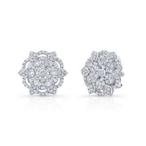 18K White Gold Fancy Floral Petal Diamond Earrings