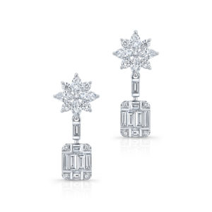 18K White Gold Emerald Cut Diamond Drop Earrings