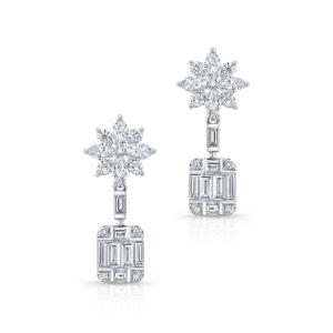 18K White Gold Emerald Cut Diamond Drop Earrings