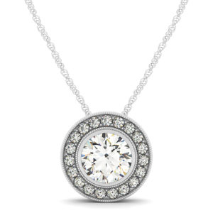 14Kw Diamond Halo Pendant 1.20 CT TW