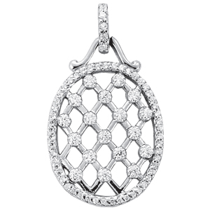 14Kw Oval X & O Diamond Pendant 0.63 CT TW
