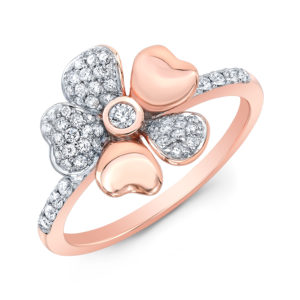 18K Rose Gold Flower Petal Ring With Diamonds
