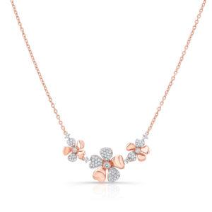 18K Rose Gold 3 Flower Petal Pendant With Diamonds