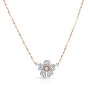 18K Rose Gold Flower Petal Pendant With Diamonds