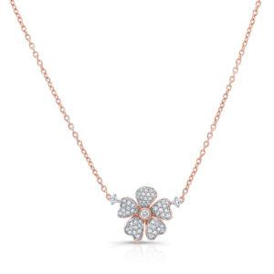 18K Rose Gold Flower Petal Pendant With Diamonds