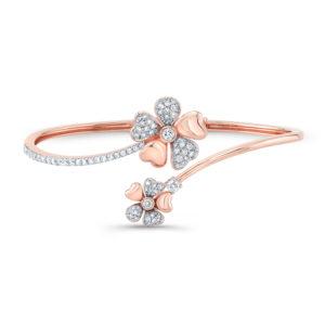 18K Rose Gold Flower Petal Bangle Bracelet With Diamonds