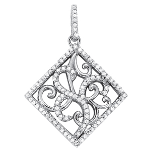 14Kw Floral Square Diamond Pendant 0.50 CT TW