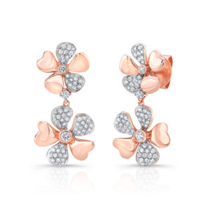 18K Rose Gold Flower Petal Earrings With Diamonds