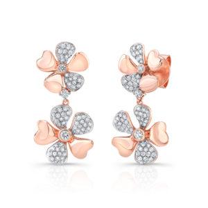 18K Rose Gold Flower Petal Earrings With Diamonds