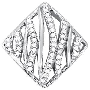 14Kw Square Wave Style Diamond Pendant 0.25 CT TW
