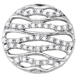 14Kw Round Wave Style Diamond Pendant 0.25 CT TW