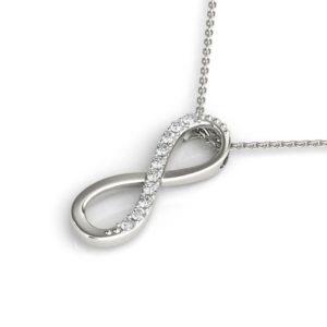 14Kw Infinity Style Diamond Pendant 0.10 CT TW