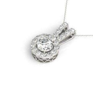 14 Kw Round 2 Prong Halo Diamond Pendant 1.33 CT TW