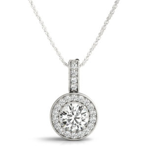 14 Kw Round Halo Diamond Pendant 1.00 CT TW