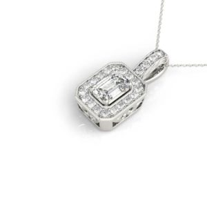14Kw Rectangular Halo Diamond Pendant 0.25 CT TW