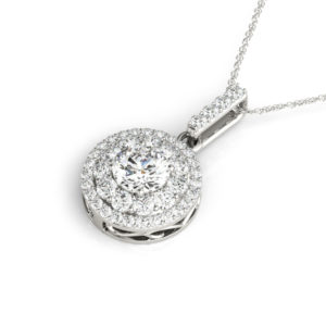14 Kw Round Halo Diamond Pendant 1.63 CT TW